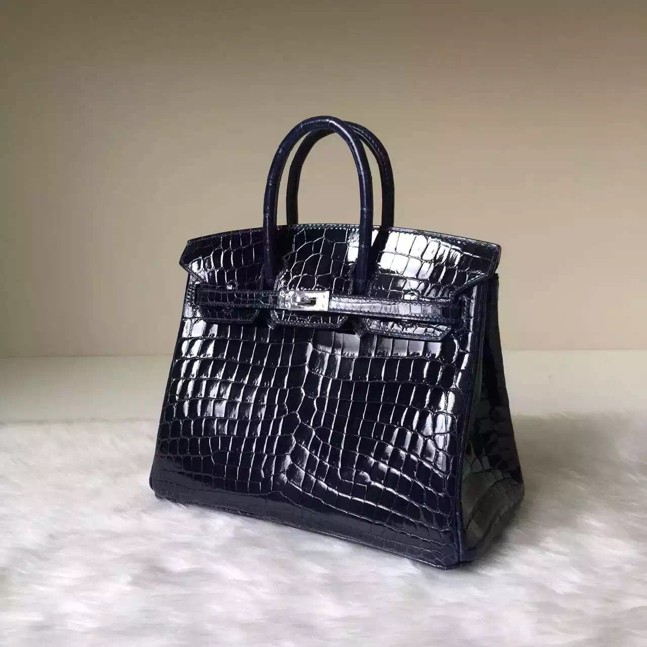 Wholesale Hermes 73 Blue Saphir Crocodile Shiny Leather Birkin Bag25cm
