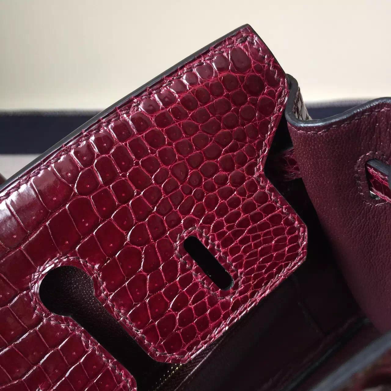 Hermes Crocodile Shiny Leather Birkin25 Bag in CK57 Bordeaux