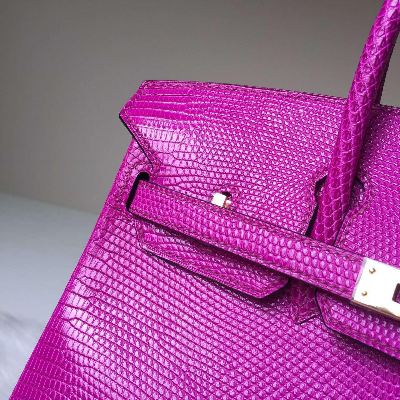Hand Stitching Hermes Lizard Skin Leather Birkin25 Bag in Fuchsia