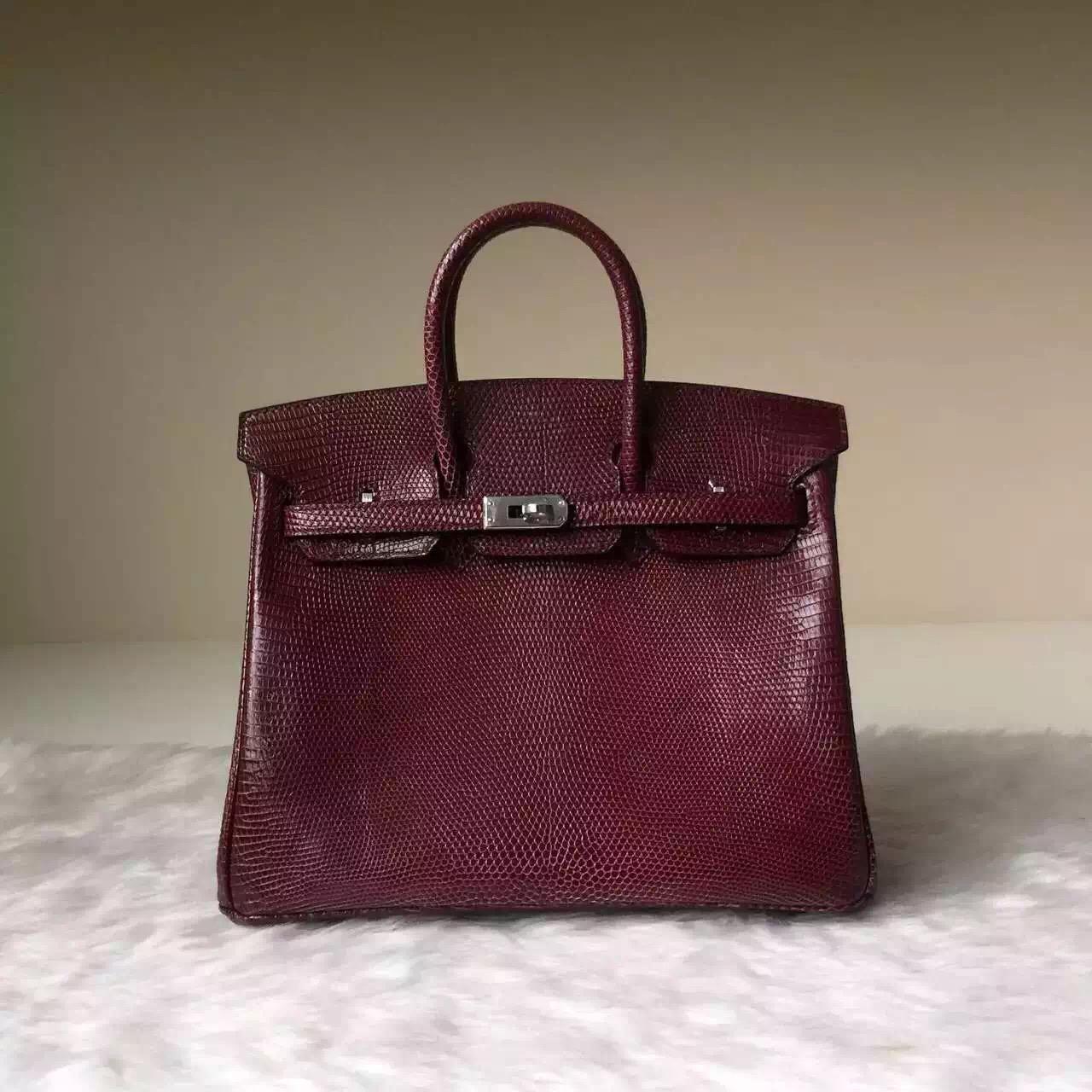 Wholesale Hermes Wine Red Lizard Skin Birkin Bag 25cm
