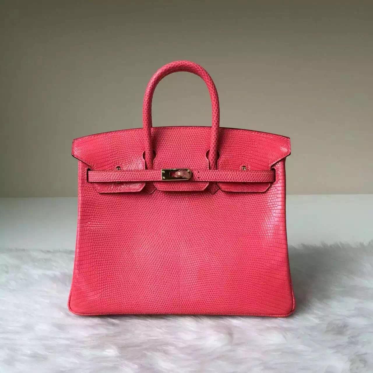 Discount Hermes Lizard Leather Birkin25 Bag in Rose Lipstick