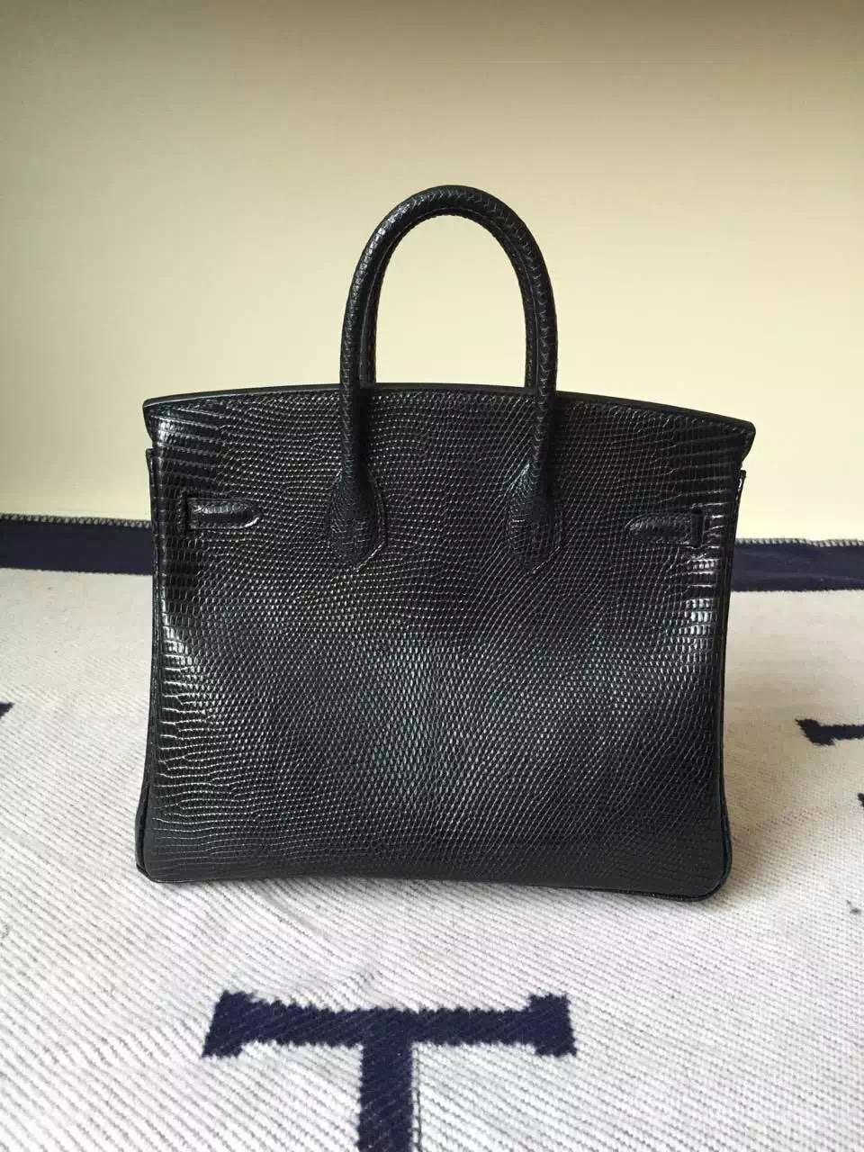 New Noble Hermes CK89 Black Lizard Leather Birkin Bag 25cm