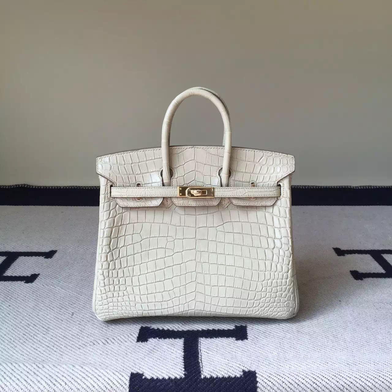 Sale Hermes Crocodile matt Leather Birkin Bag 25cm in 8L Beton