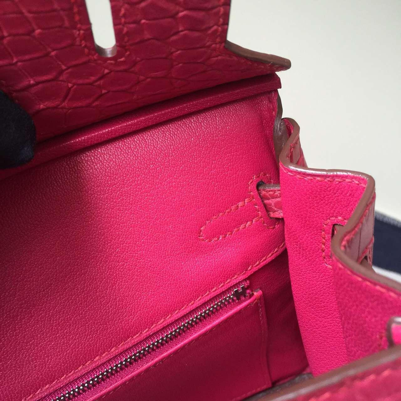 Discount Hermes Crocodile Matt Leather Birkin Bag25cm in 5R Rose Tyrien