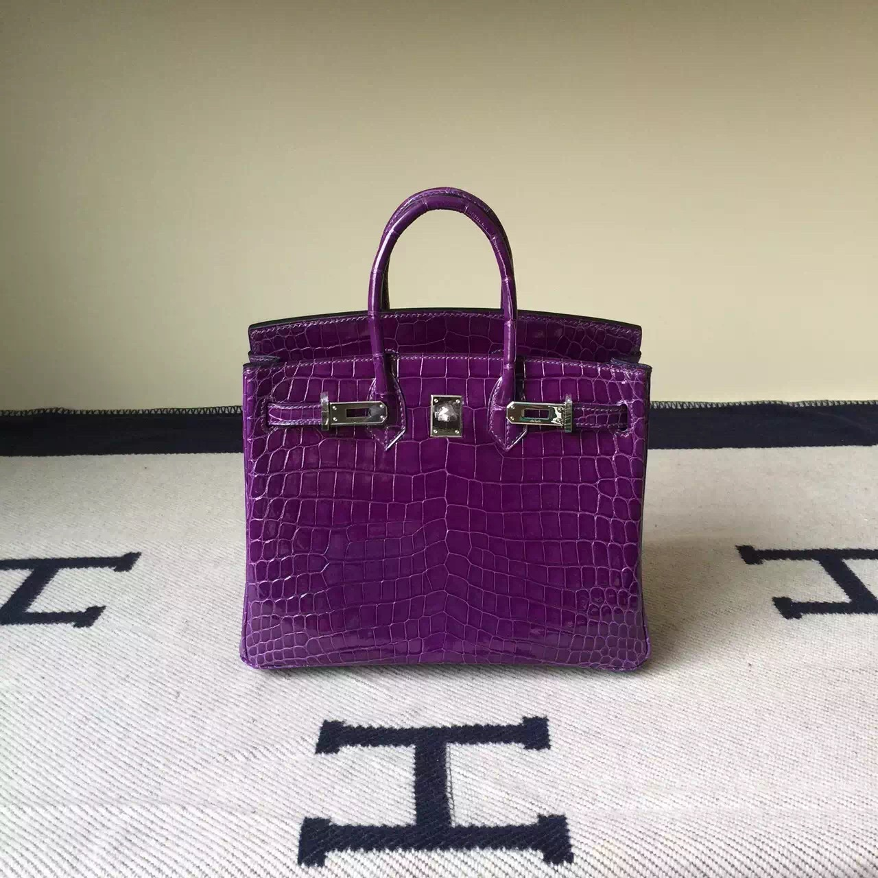 On Sale Hermes Grape Purple Crocodile Shiny Leather Birkin Bag 25cm