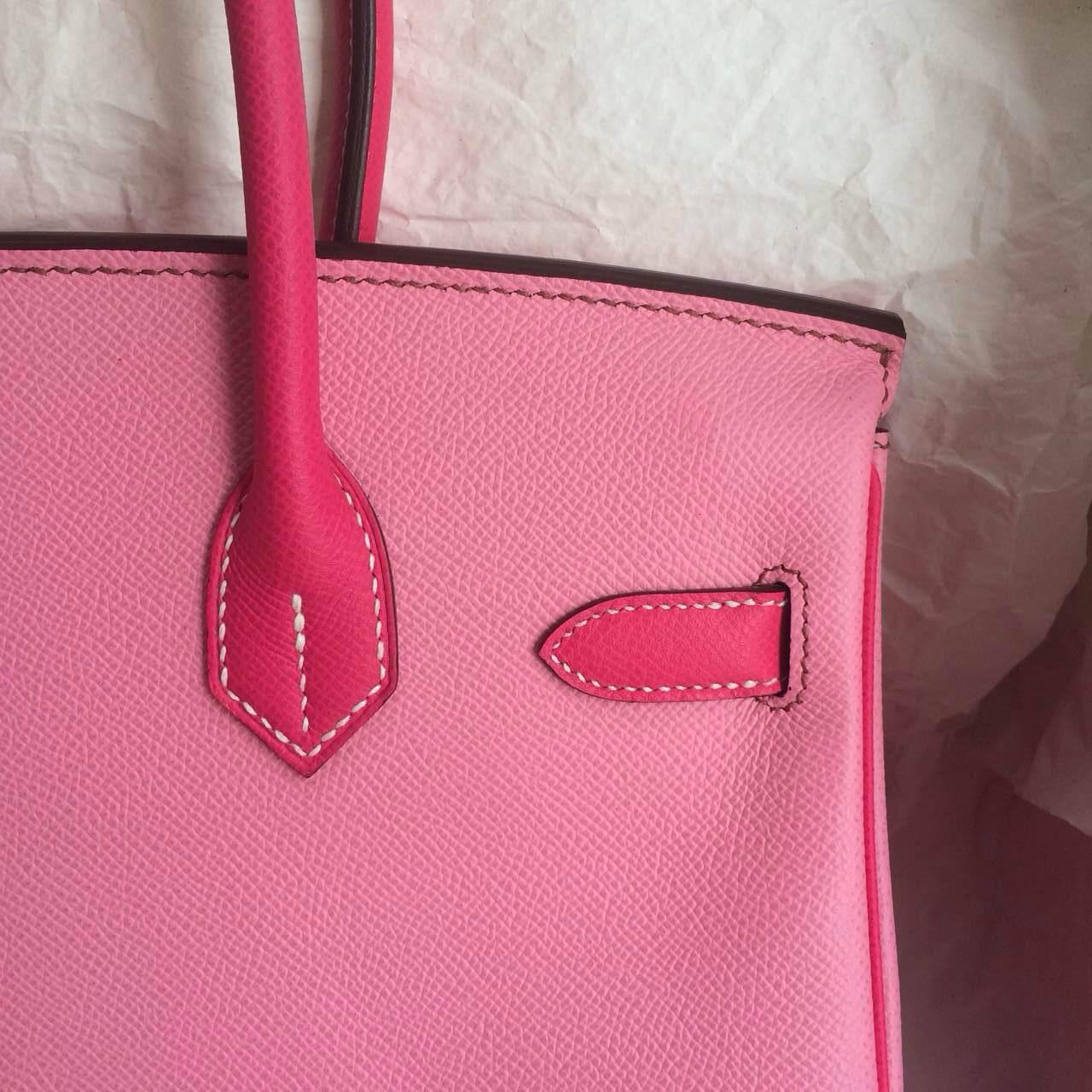 5P Pink/E5 Rose Tyrien Epsom Leather Hermes Birkin Bag 30cm Women's Tote Bag