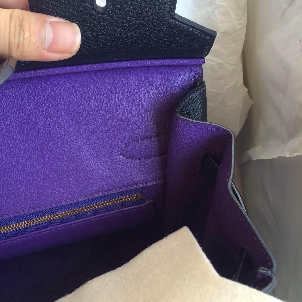 Black/Ultraviolet inner France Togo Leather Hermes Birkin Bag30cm Gold Hardware