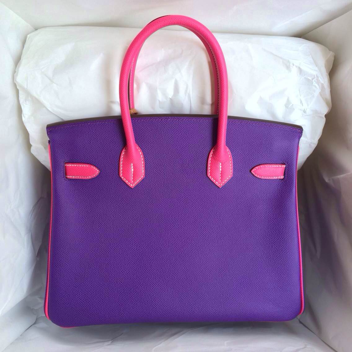 Cheap Hermes Birkin Bag 9W Ultraviolet/E5 Rose Tyrien Epsom Leather Gold Hardware