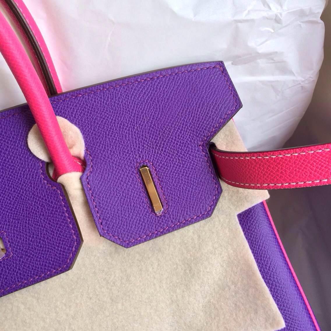 Cheap Hermes Birkin Bag 9W Ultraviolet/E5 Rose Tyrien Epsom Leather Gold Hardware