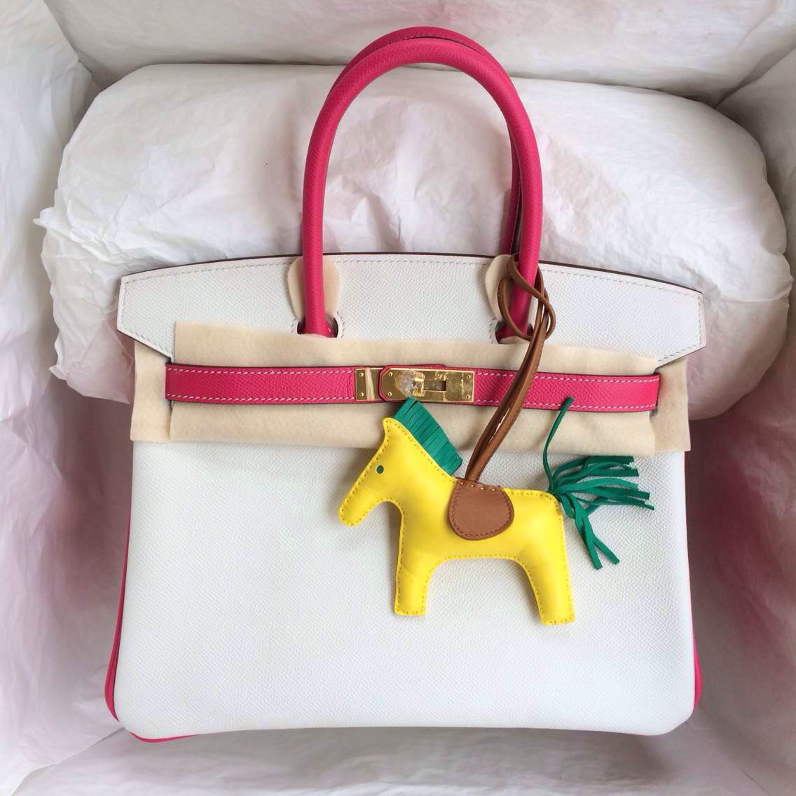 White/E5 Rose Tyrien France Epsom Leather Birkin Bag30cm Gold Hardware Wholesale