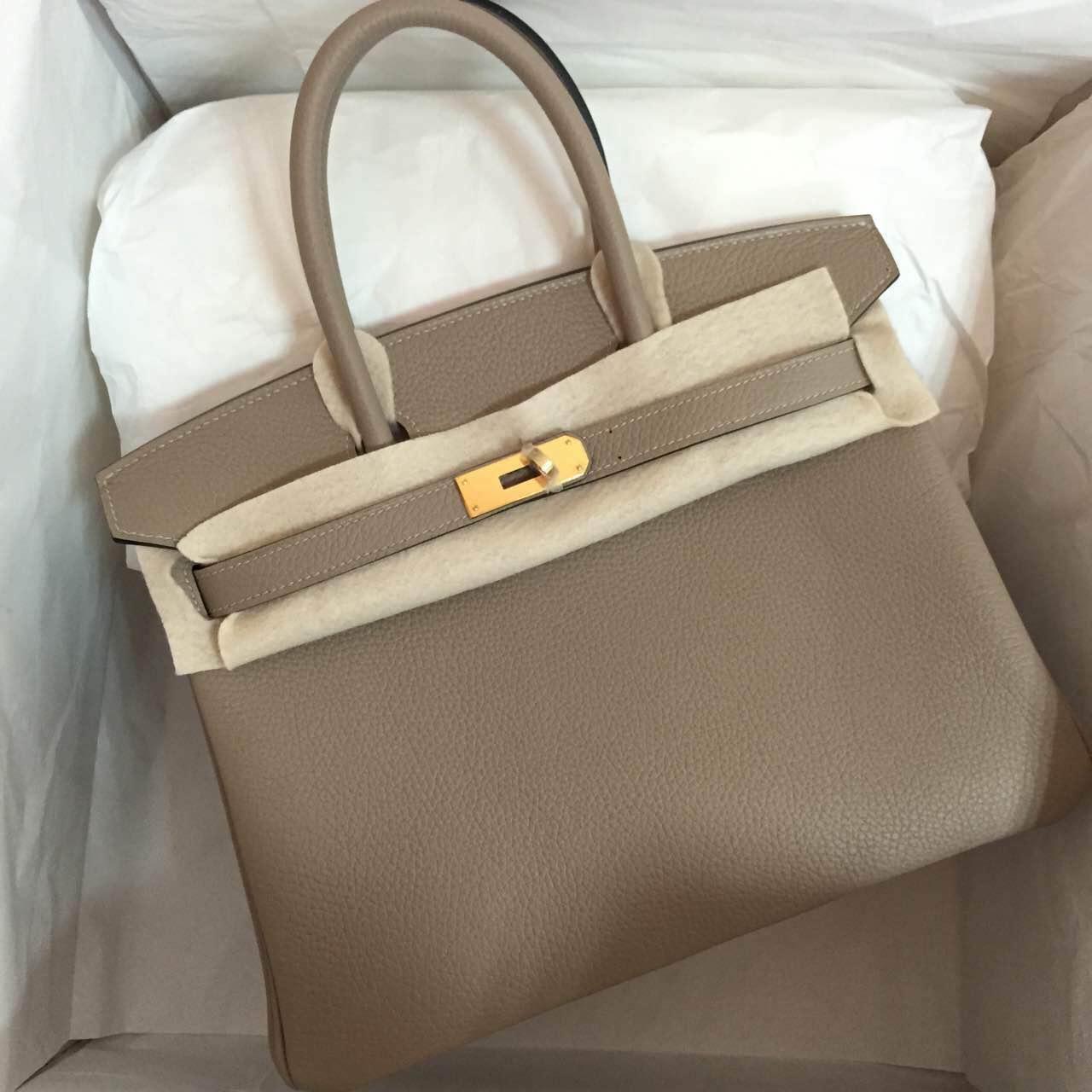 Hand Stitching Hermes Birkin Bag 30cm Gris Tourterelle Clemence Leather Handbag