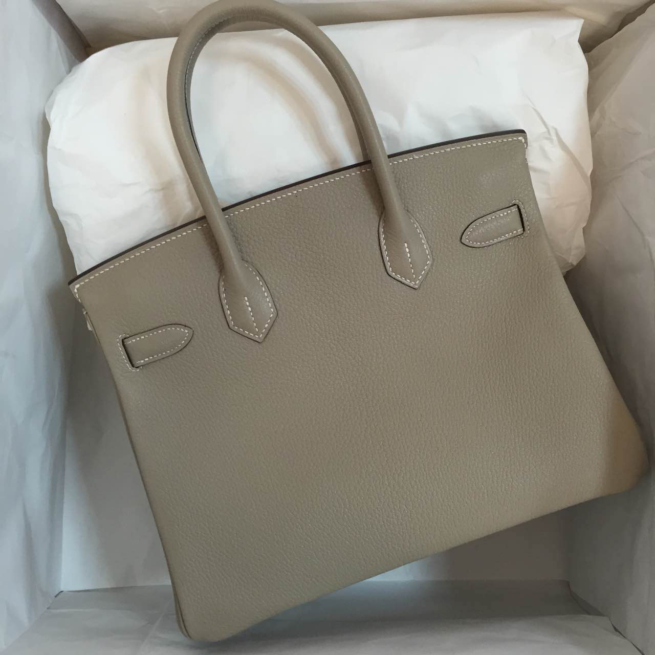 Discount Hermes Birkin30 Bag Light Grey Chevre Leather Silver Hardware