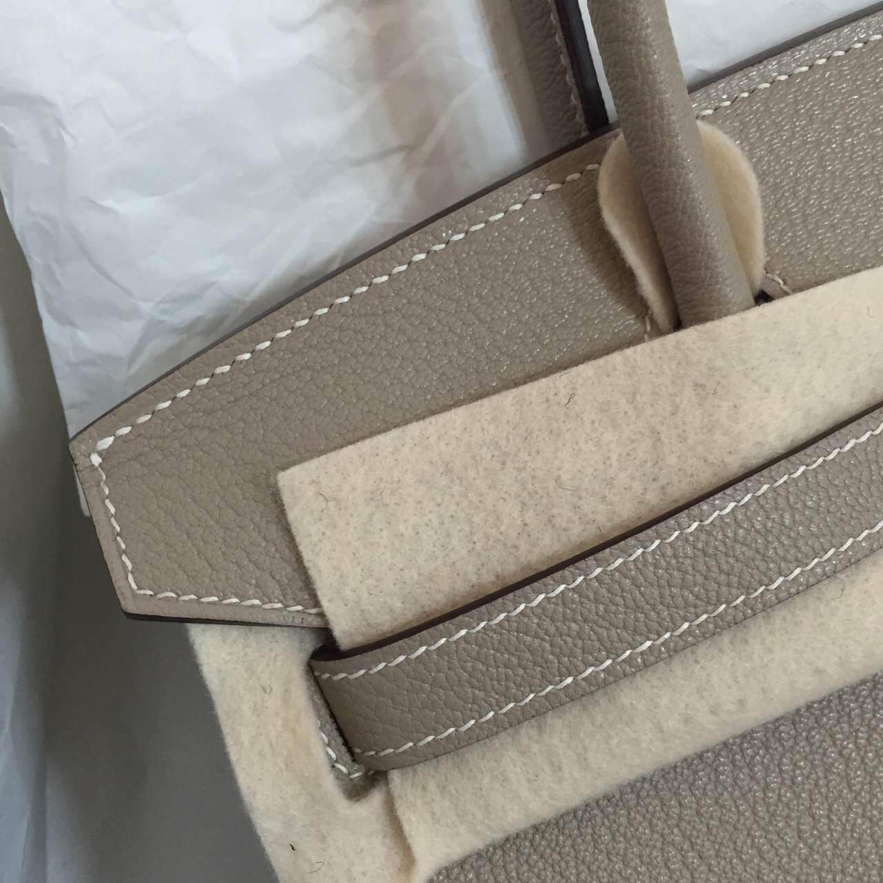 Discount Hermes Birkin30 Bag Light Grey Chevre Leather Silver Hardware