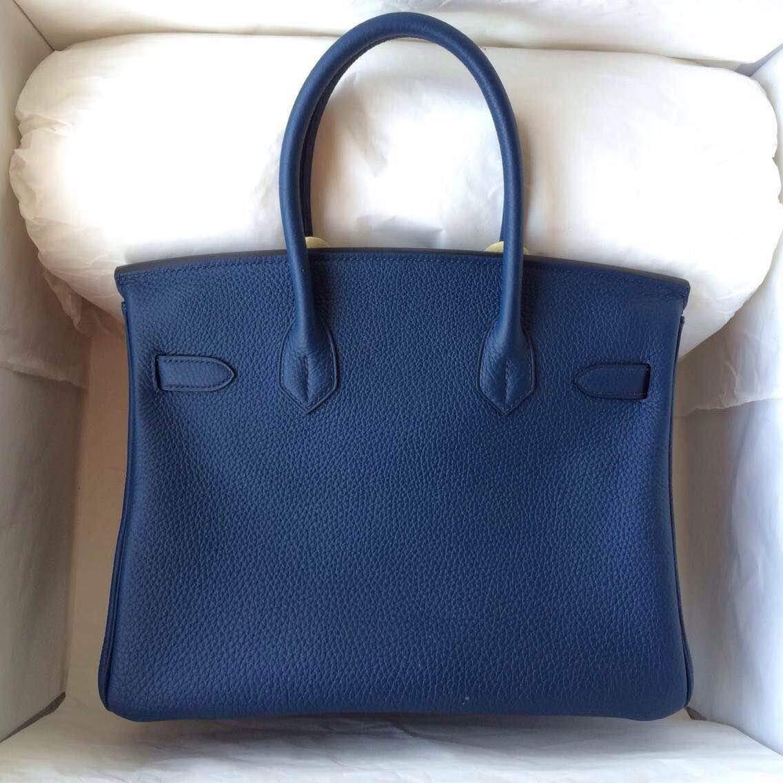 30cm Hermes Birkin Bag 7K Blue Saphir Togo Calfskin Leather Women's Handbag
