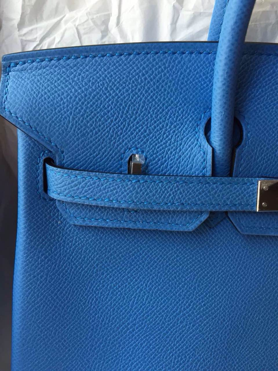 Hand Stitching Hermes Birkin30 2T Blue Paradise Epsom Calfskin Leather Tote Bag