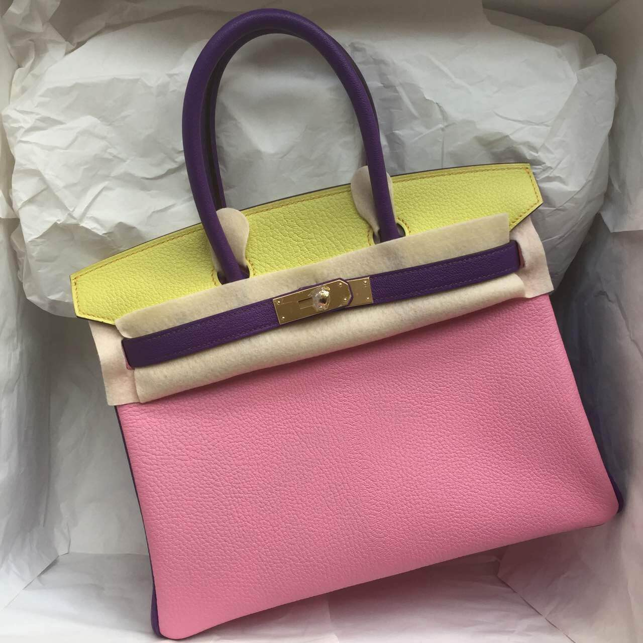 Cheap Hermes Birkin Bag 30cm Purple & Yellow & Pink Chevre Leather Handbag