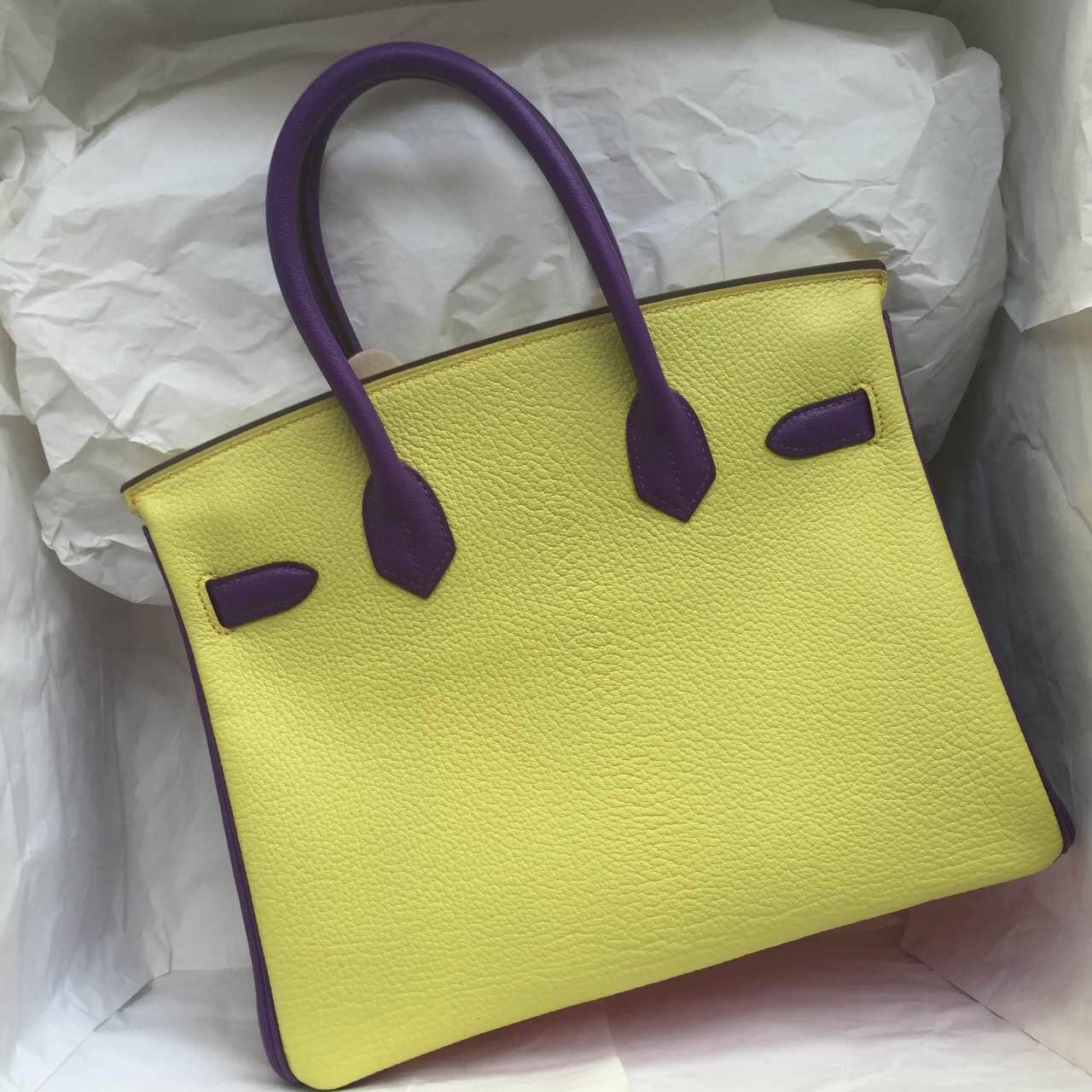 Cheap Hermes Birkin Bag 30cm Purple & Yellow & Pink Chevre Leather Handbag