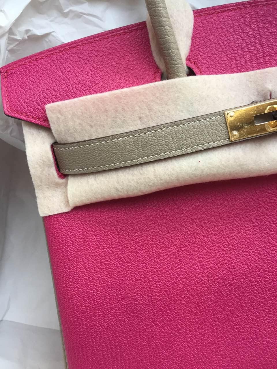 30cm Hermes Birkin Bag E5 Rose Tyrien/Light Grey Chevre Leather Tote Bag
