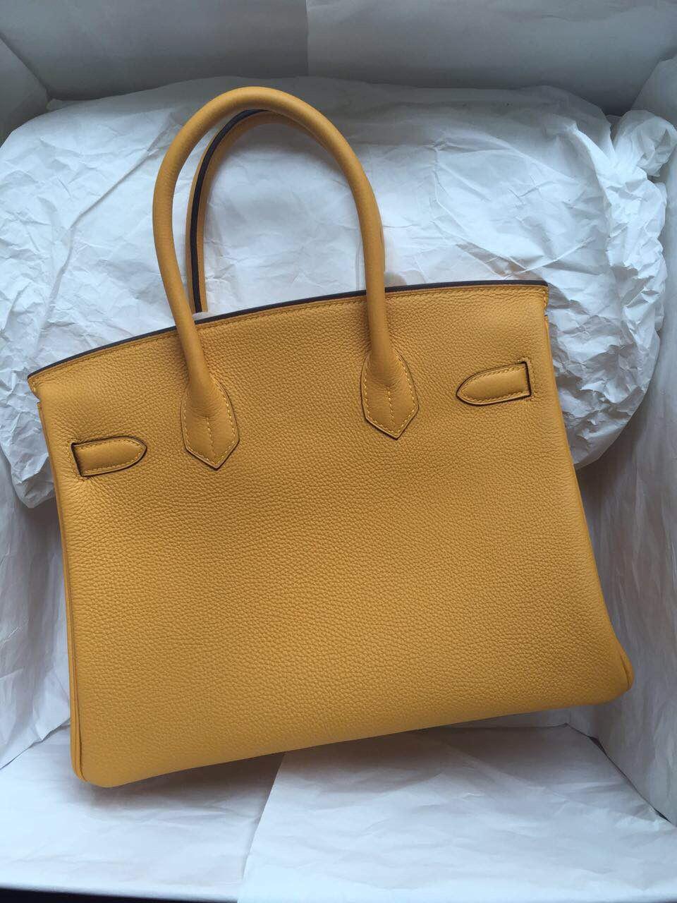 Discount Hermes Birkin Bag Mustard Yellow Togo Leather Tote Handbag 30cm