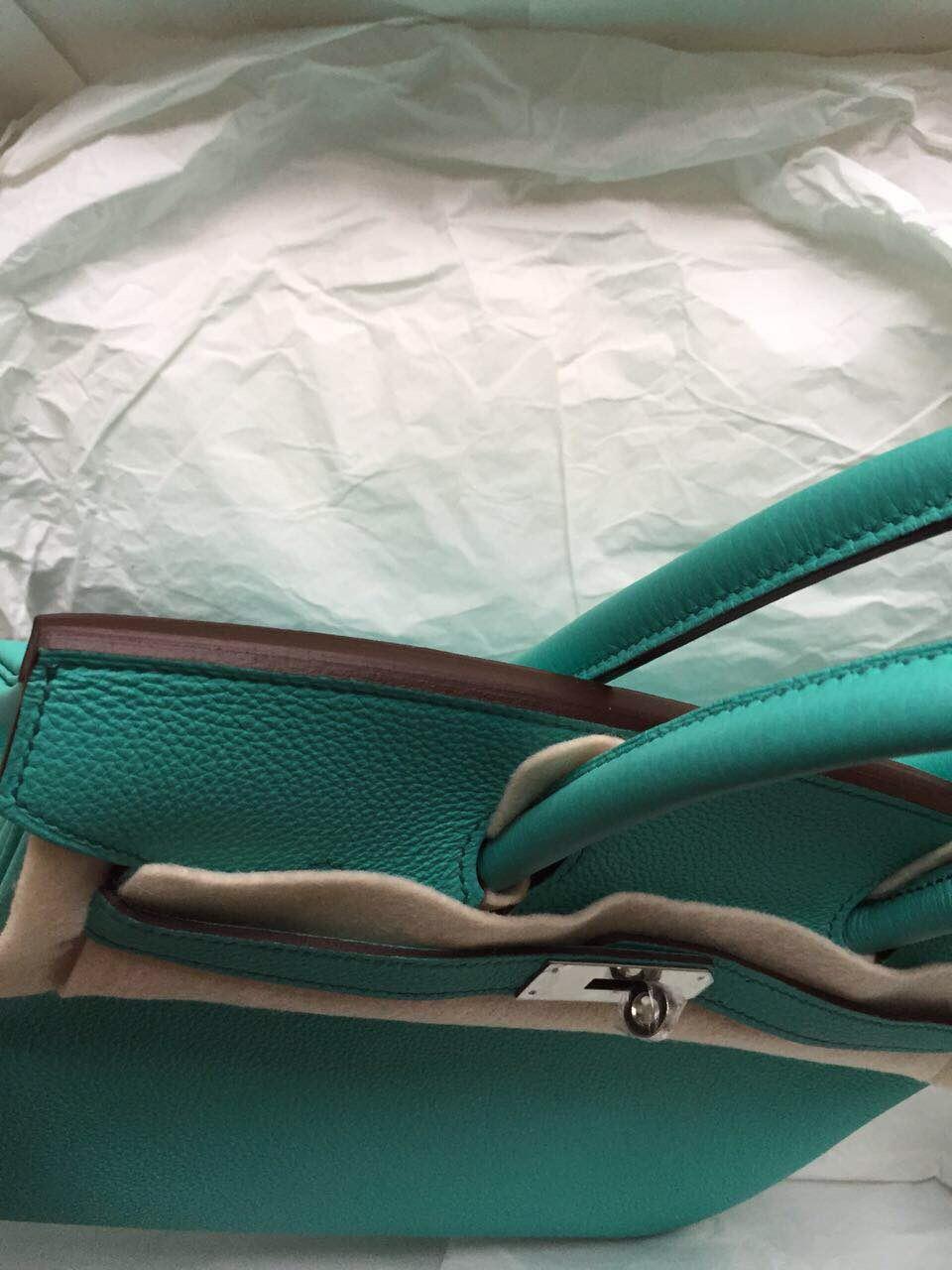 Wholesale 30cm 7V Lake Green Togo Leather Hermes Birkin Bag Silver Hardware