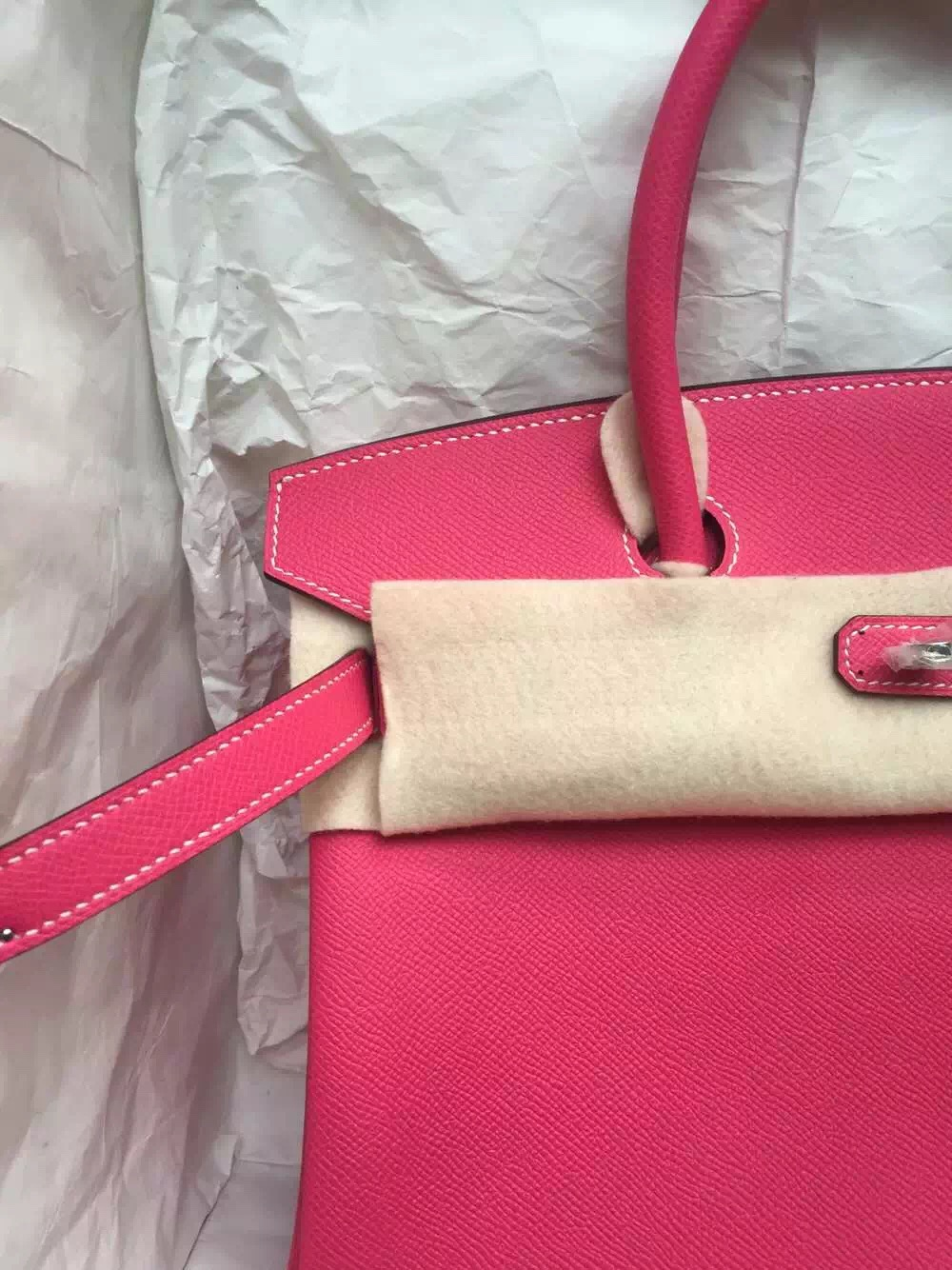 Hand Stitching Hermes Birkin Bag E5 Candy Pink/2T Blue Paradise Epsom Leather 30cm