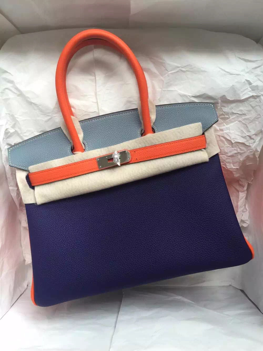 9K Iris Purple/J7 Blue Lin/Orange Togo Leather Hermes Birkin Bag 30cm