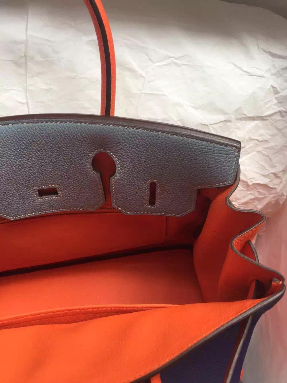 9K Iris Purple/J7 Blue Lin/Orange Togo Leather Hermes Birkin Bag 30cm