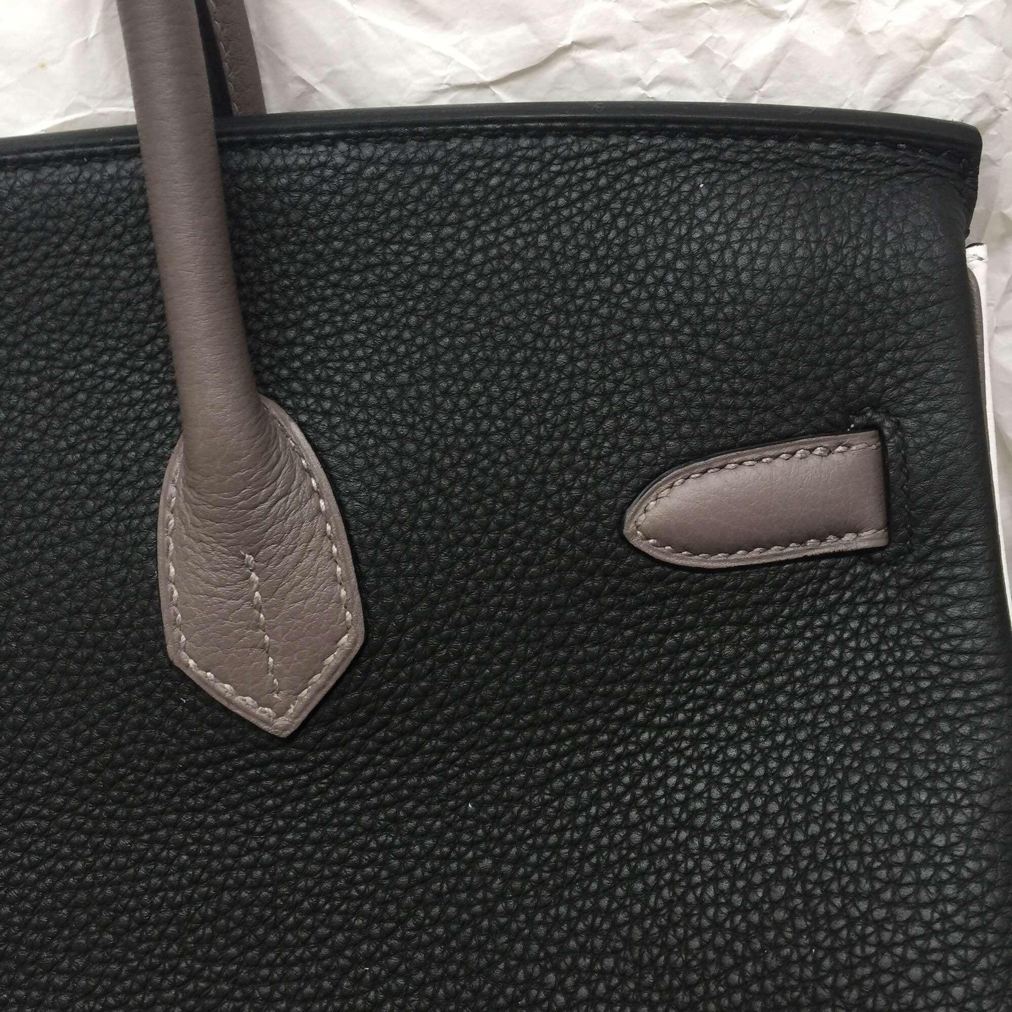 Discount Hermes Black/White/Etain Grey Togo Leather Birkin Bag 30cm Online