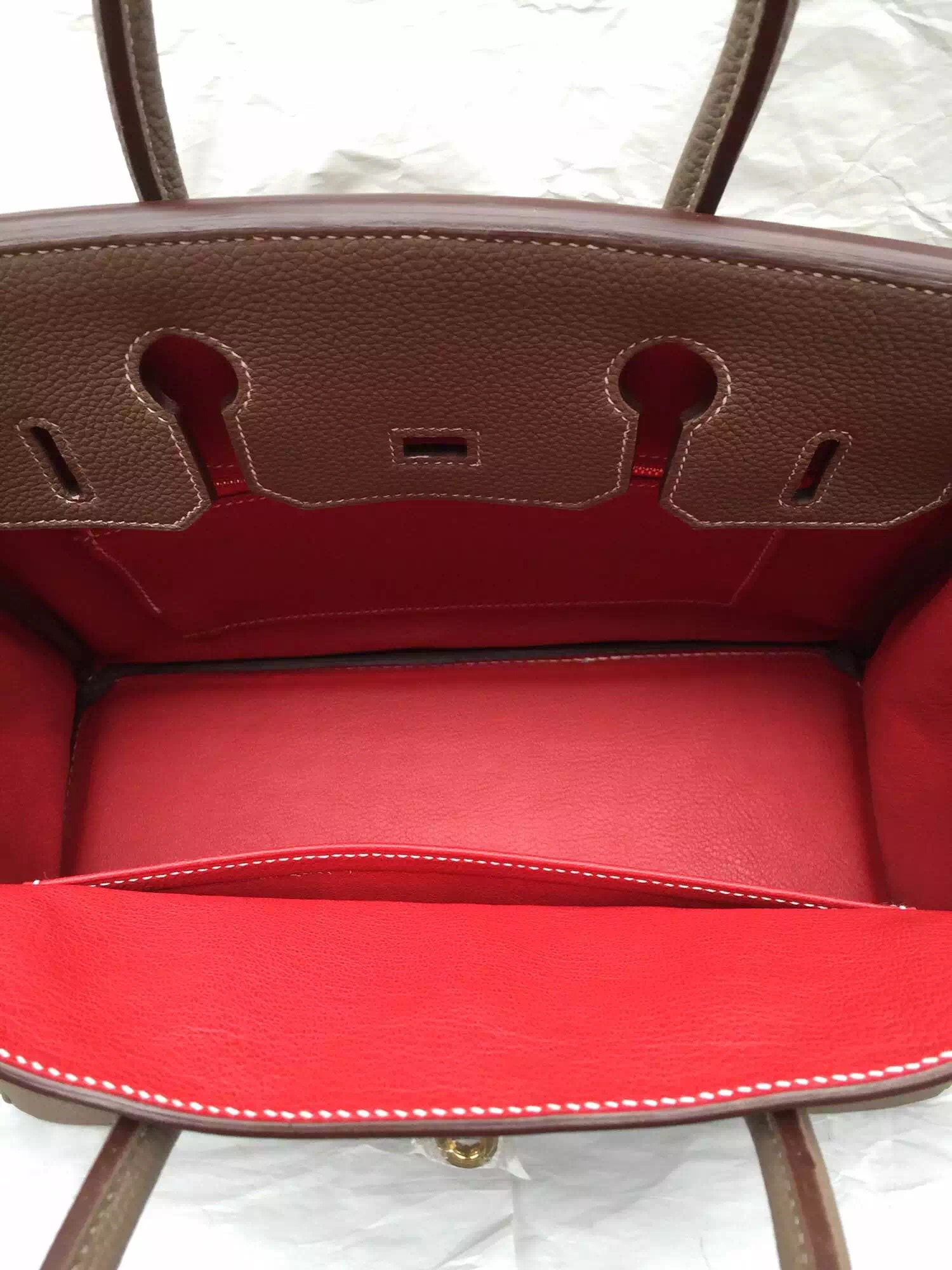 Sale Hermes Birkin Bag Etoupe Grey/Q5 Red Togo Leather Women's Tote Handbag