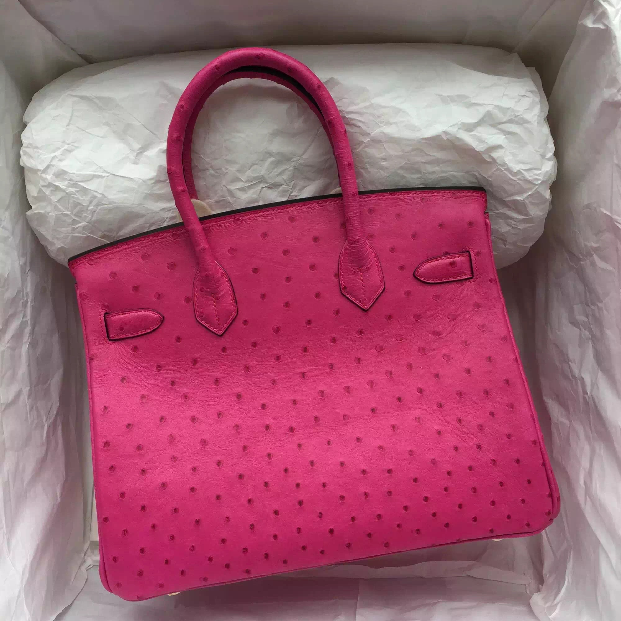 Hand Stitching Hot Pink Ostrich Leather Hermes Birkin Bag 30CM Gold Hardware