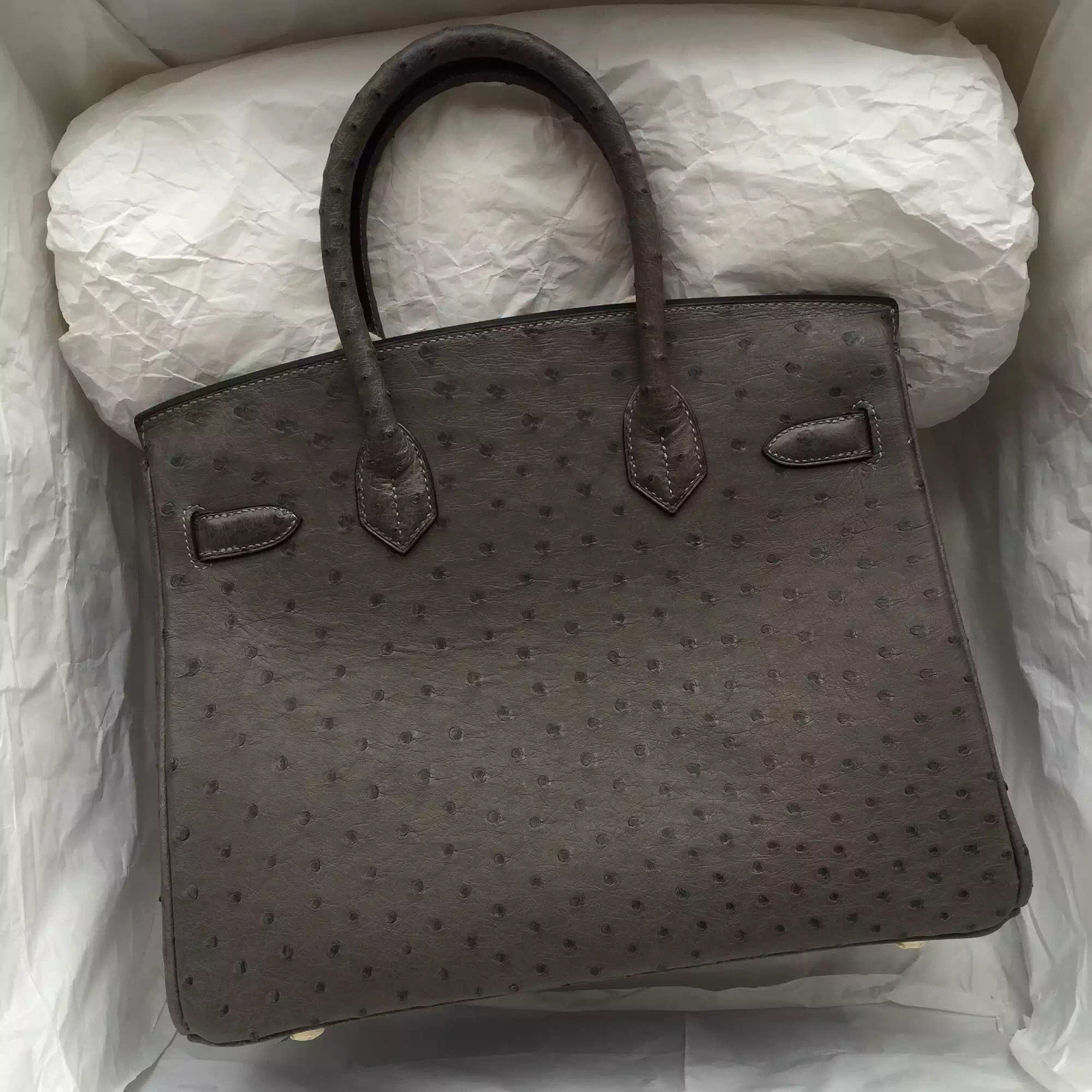 Discount Hermes Birkin 30CM in 8F Etain Grey Ostrich Leather Elegant Ladies' Tote Bag