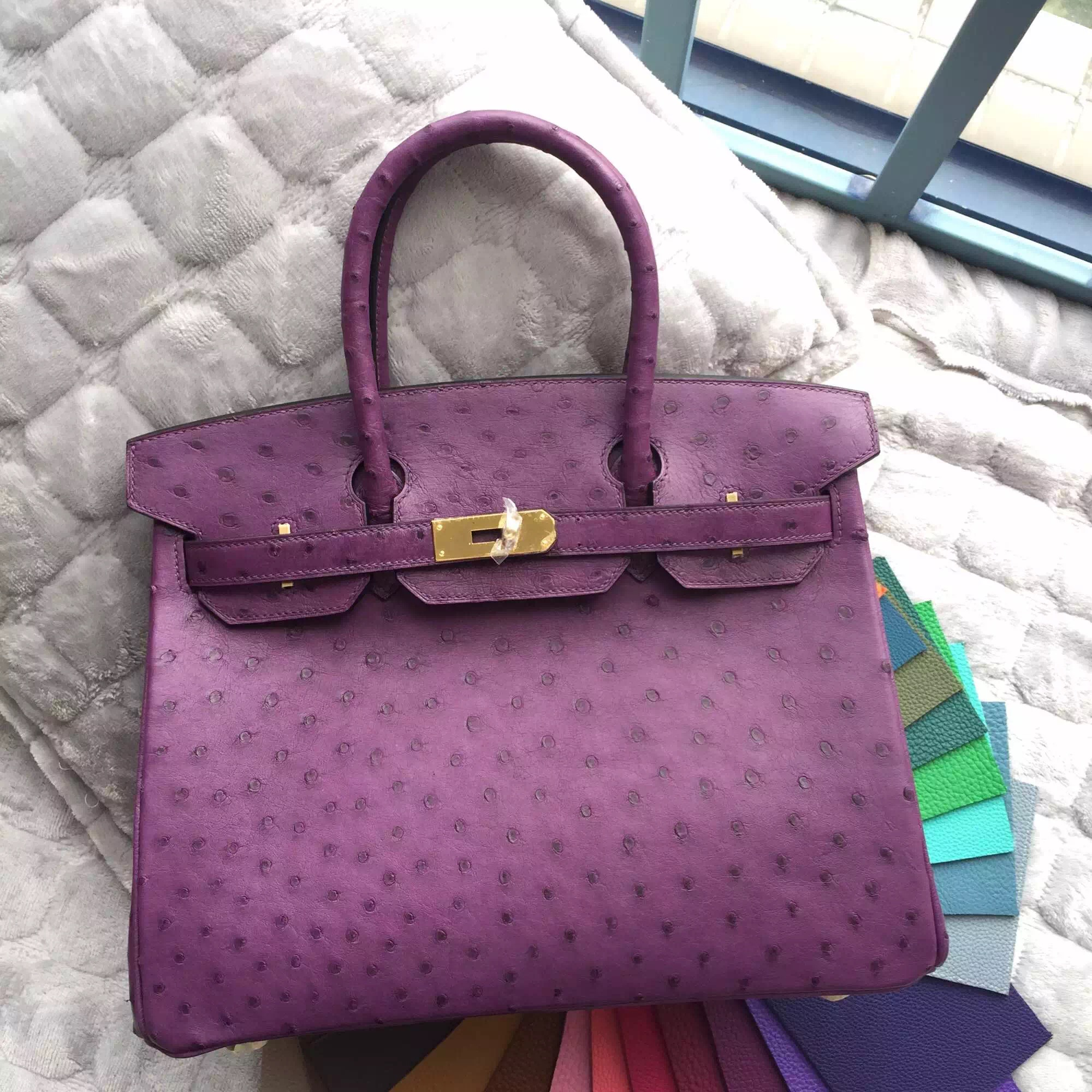 Elegant Hermes Birkin 30CM in 5C Violet Purple Ostrich Leather Handbag