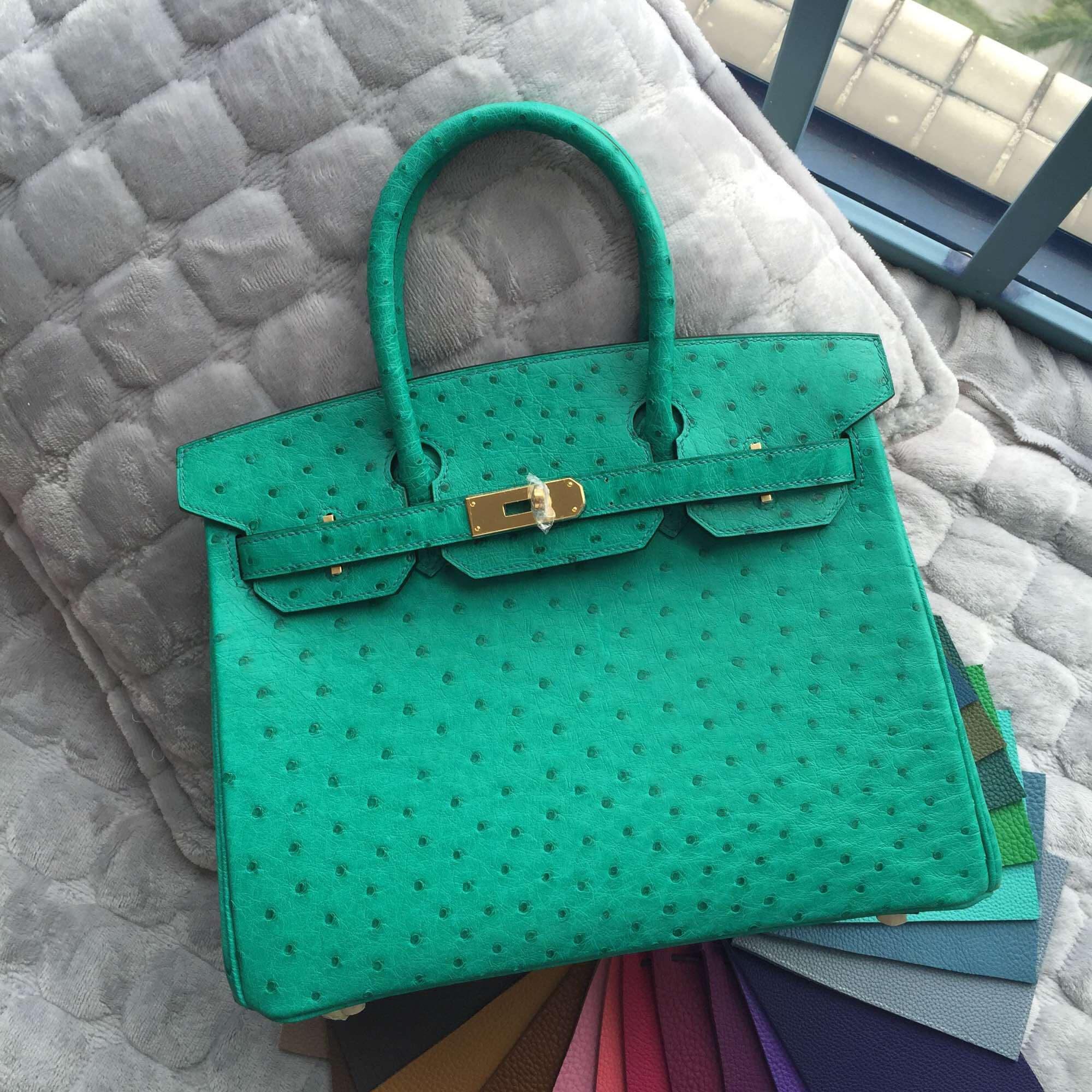 6Q Emerald Green Ostrich Leather Hermes Birkin Bag 30CM Gold Hardware