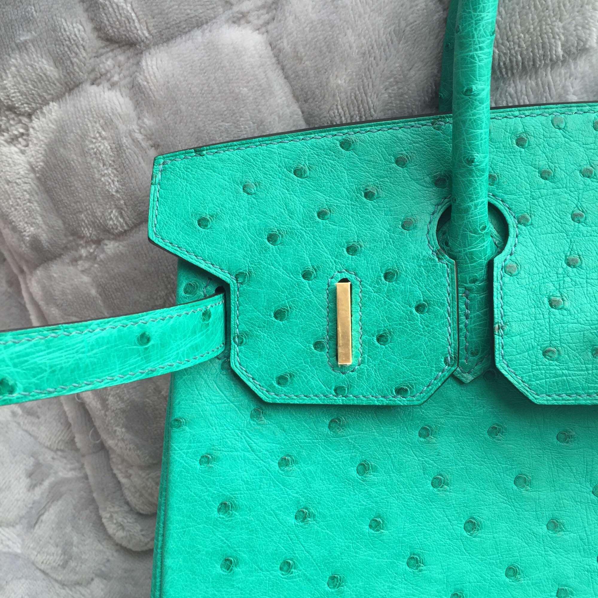 6Q Emerald Green Ostrich Leather Hermes Birkin Bag 30CM Gold Hardware