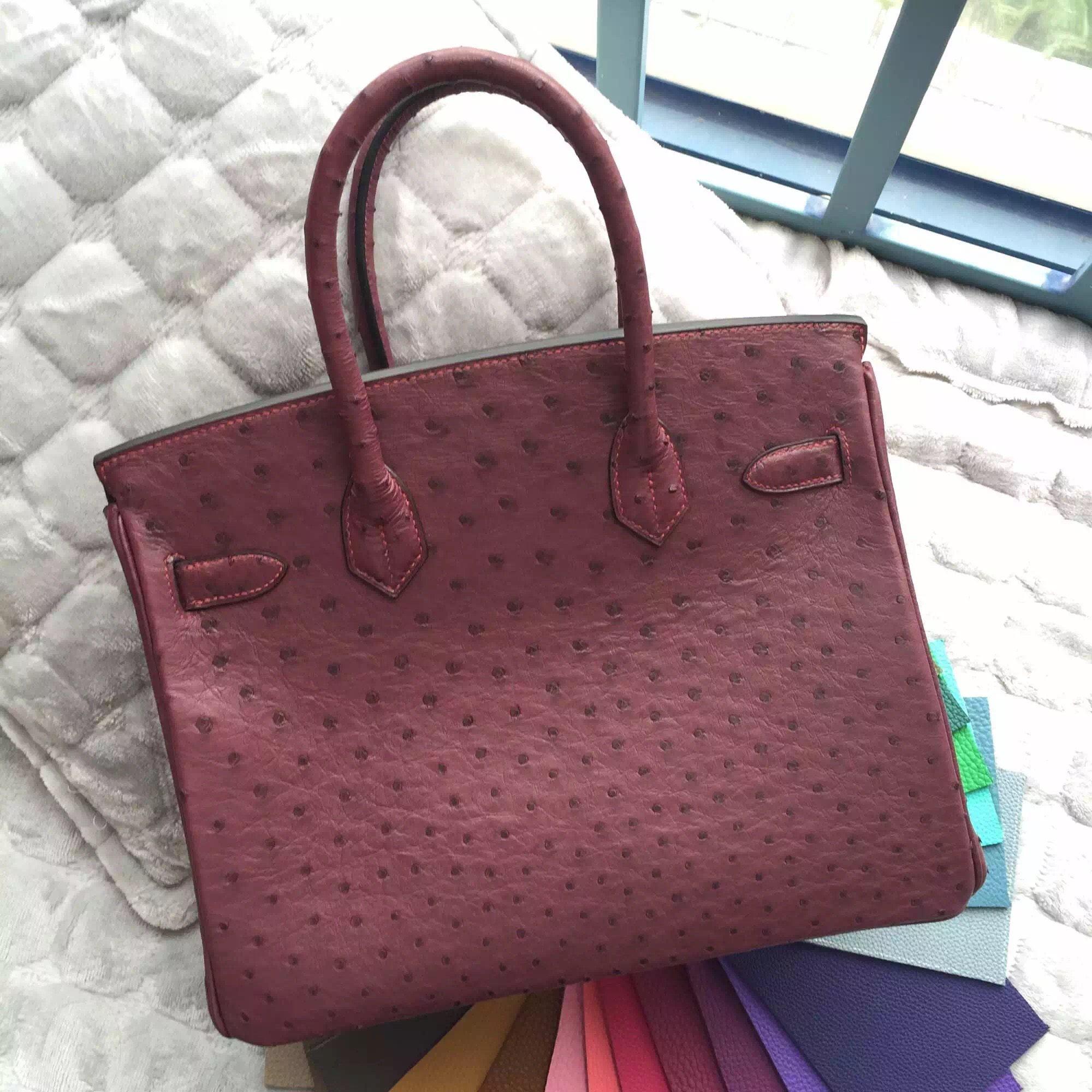 Wholesale B5 Ruby Red Ostrich Leather Hermes Birkin Bag 30CM Ladies's Tote Bag