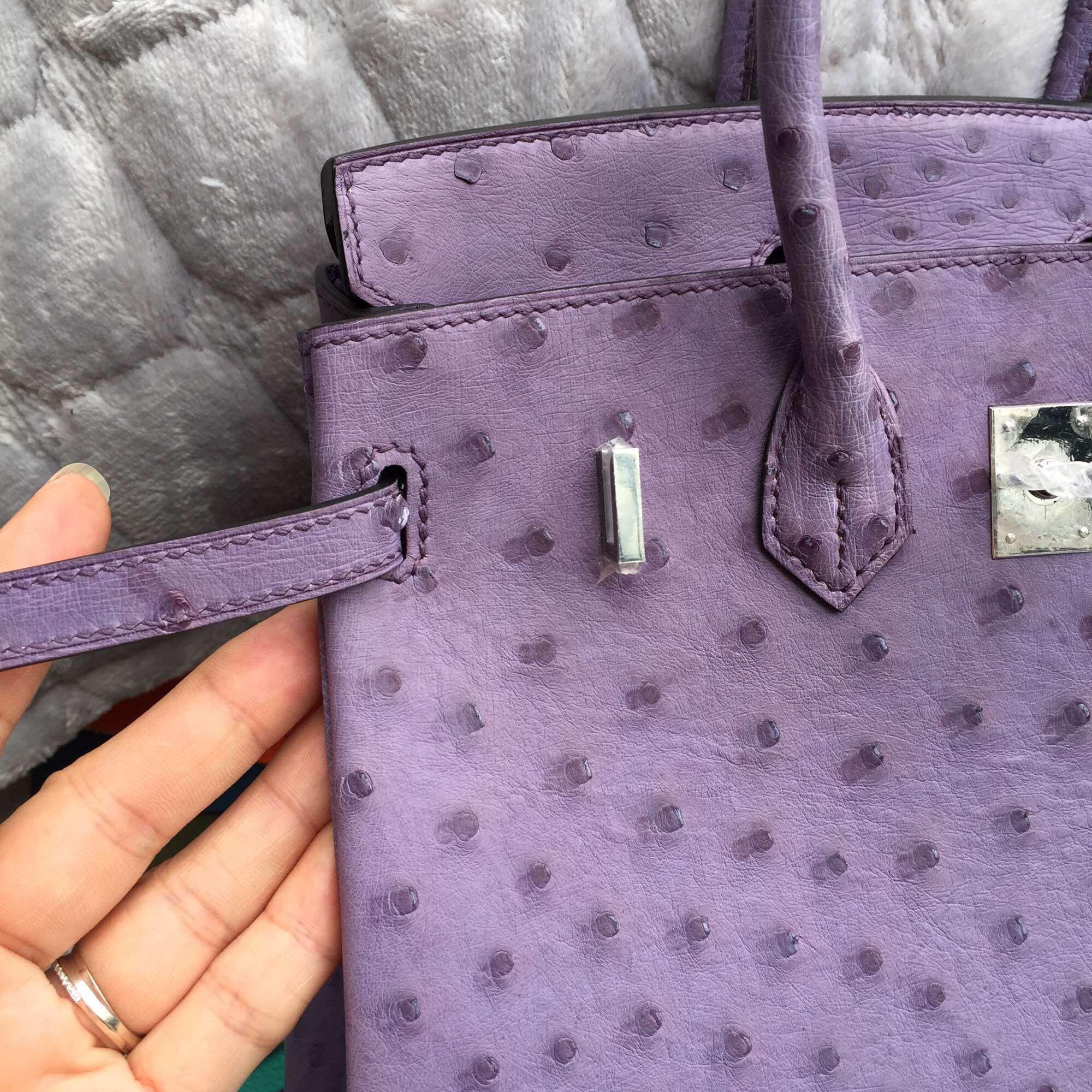 Discount 25CM Hermes Birkin Bag in Light Purple Ostrich Leather Silver Hardware