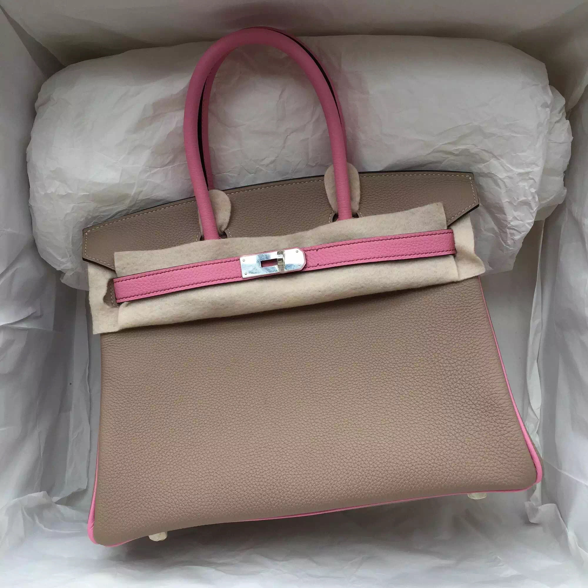 Discount Gris Tourterelle/5P Pink Togo Leather Hermes Birkin 30CM Silver Hardware