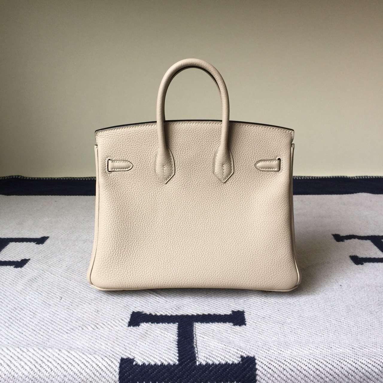 High Quality Hermes Gris Tourterelle Togo Leather Birkin Bag 25cm