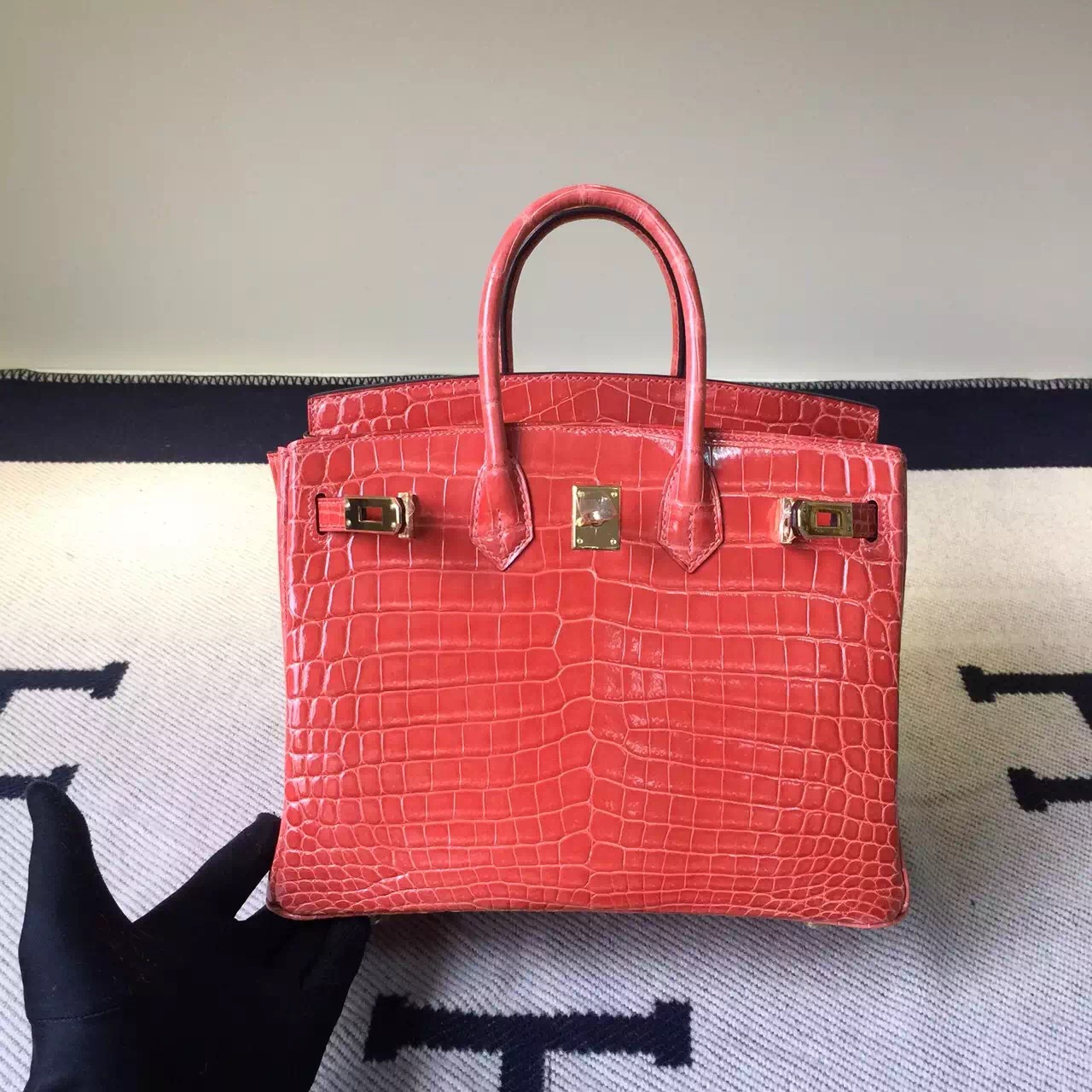 Hermes I5 Flamingo Crocodile Shiny Leather Birkin Bag 25cm