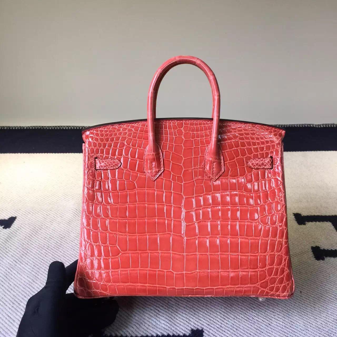 Hermes I5 Flamingo Crocodile Shiny Leather Birkin Bag 25cm