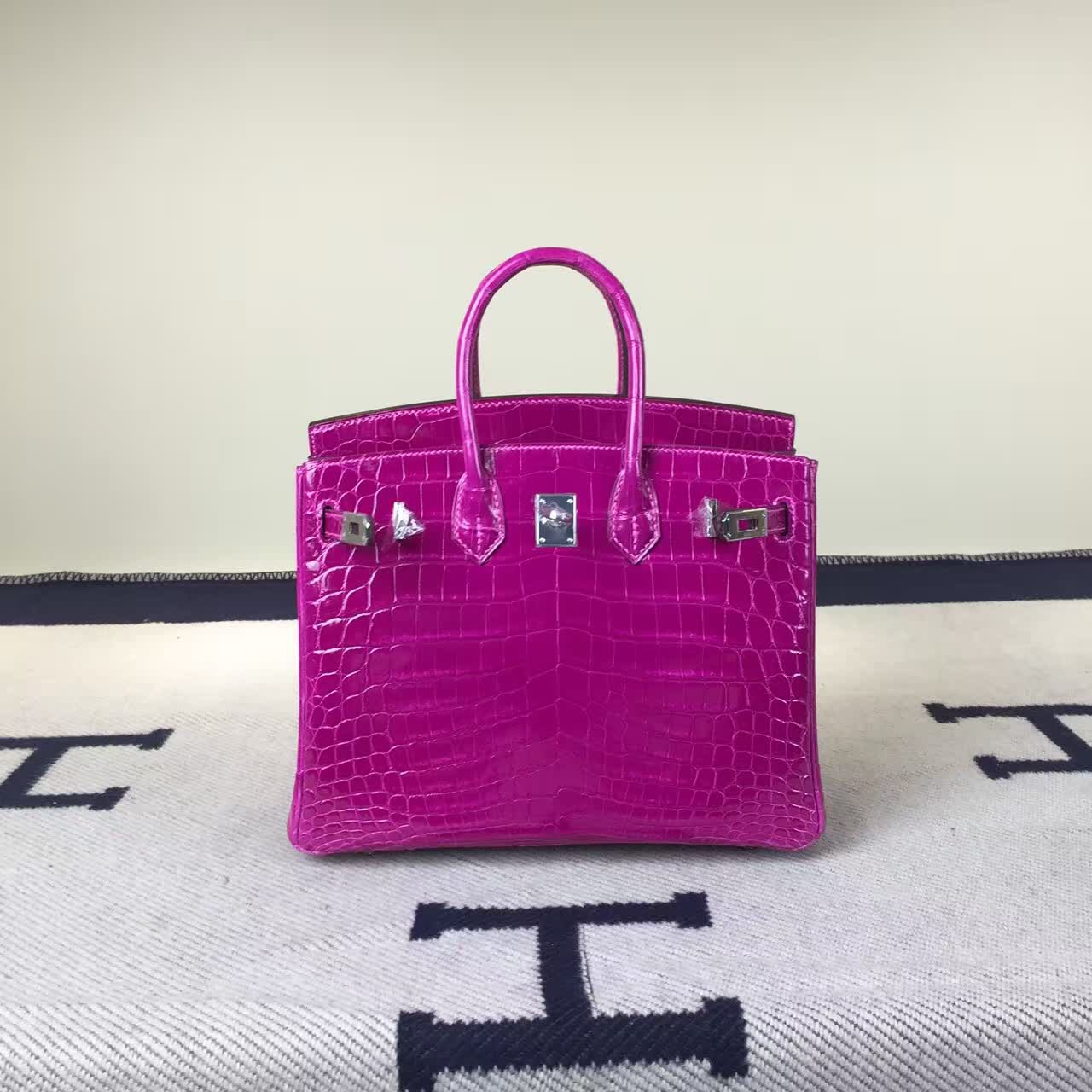Discount Hermes J5 Rose Scheherazade Crocodile Shiny Leather Birkin Bag 25cm