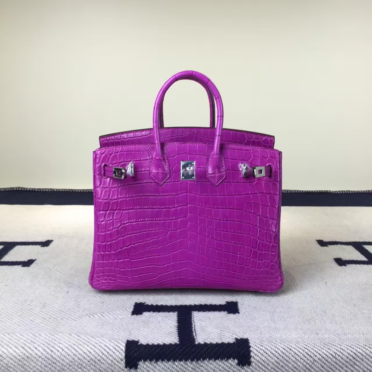 Hermes J5 Rose Scheherazade Crocodile Matt Leather Birkin Bag25cm