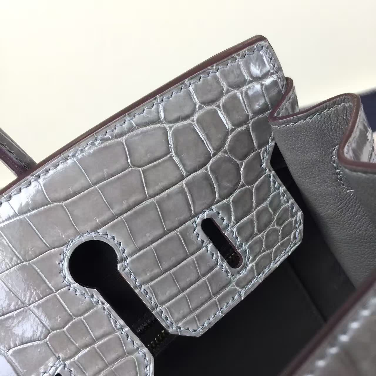 Fashion Hermes CK18 Etoupe Grey Crocodile Shiny Leather Birkin Bag 25cm