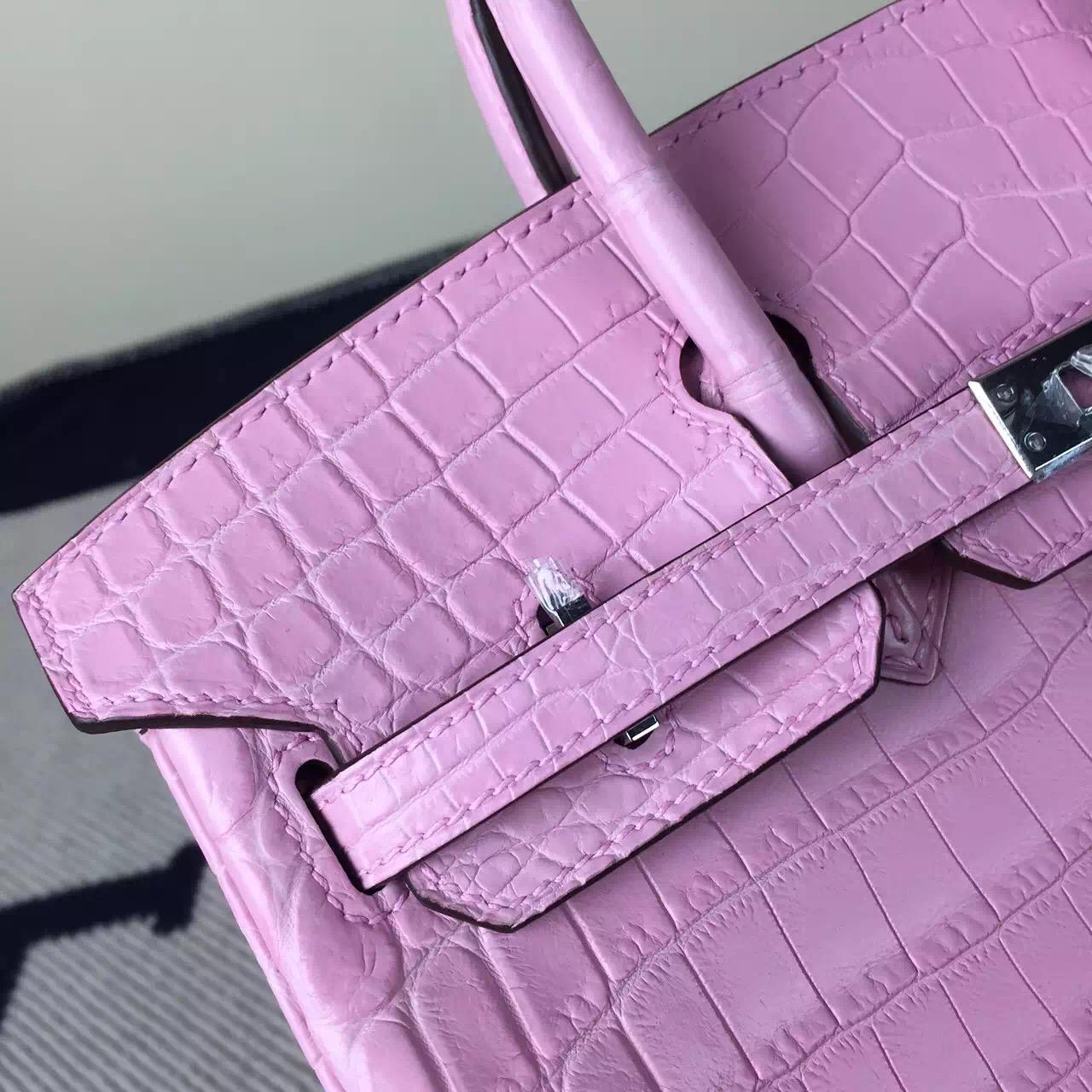 New Pretty Hermes Light Pink Crocodile Matt Leather Birkin Bag 25cm