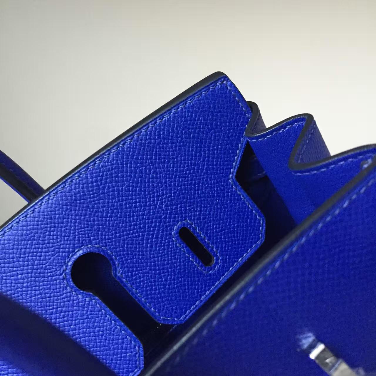 Sale Hermes 7T Blue Electric Epsom Calfskin Leather Birkin Bag 25cm