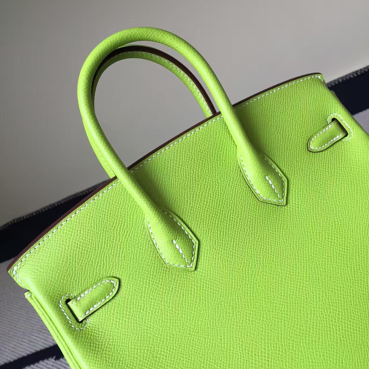 Hand Stitching Hermes Epsom Leather Birkin Bag 25cm in 6R Kiwi Green