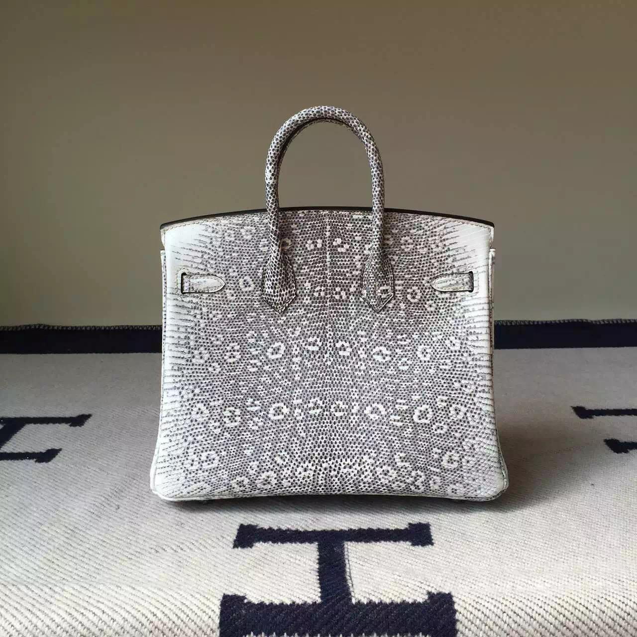 Hot Sale Hermes Nature Lizard Skin Leather Birkin Bag 25cm Silver Hardware