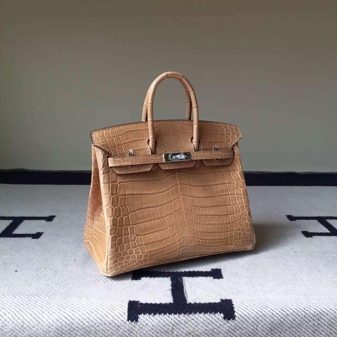 New Arrival Hermes Apricot Crocodile Shiny Leather Birkin Bag 25cm