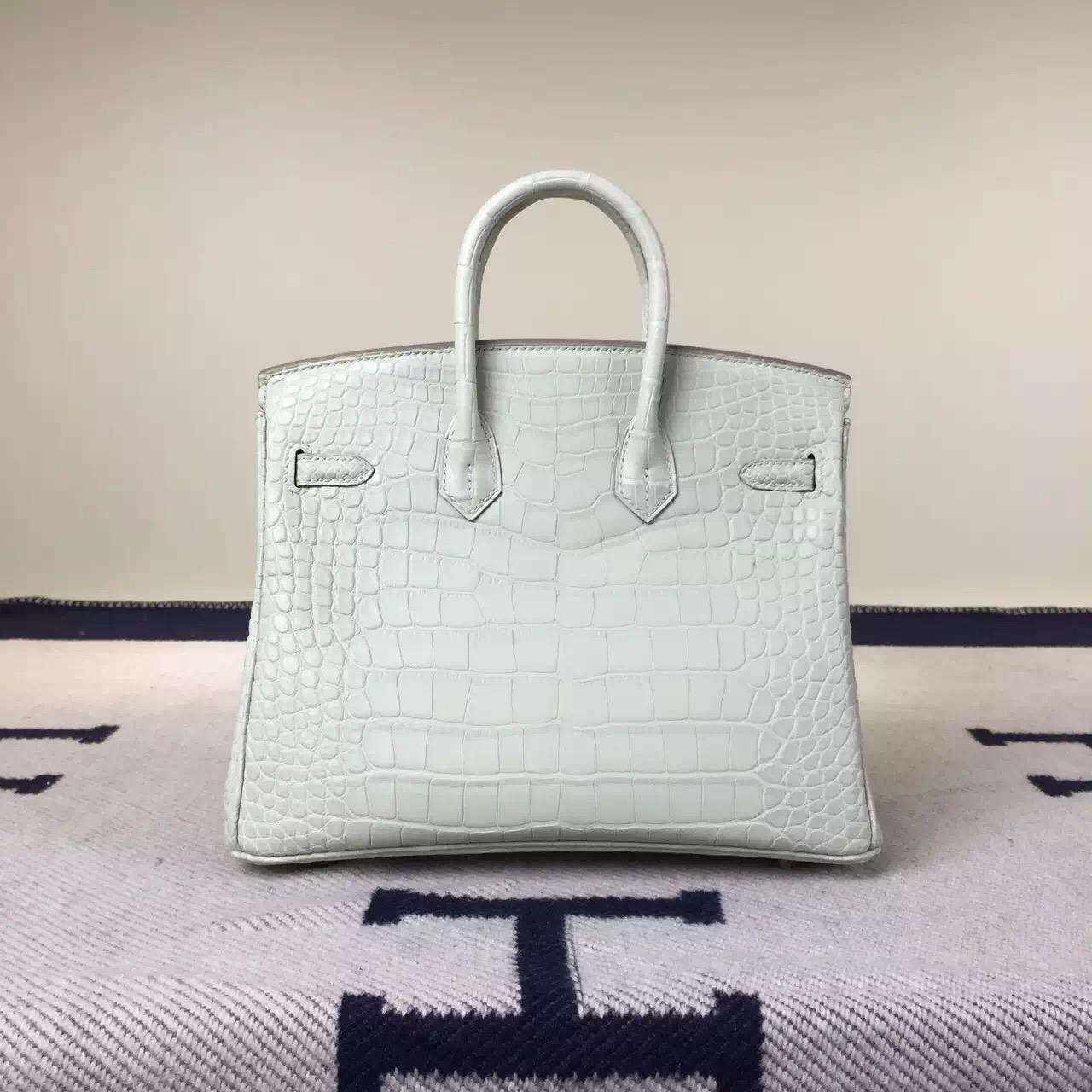 Wholesale Hermes Crocodile Matt Leather Birkin25cm in 8L Beton White
