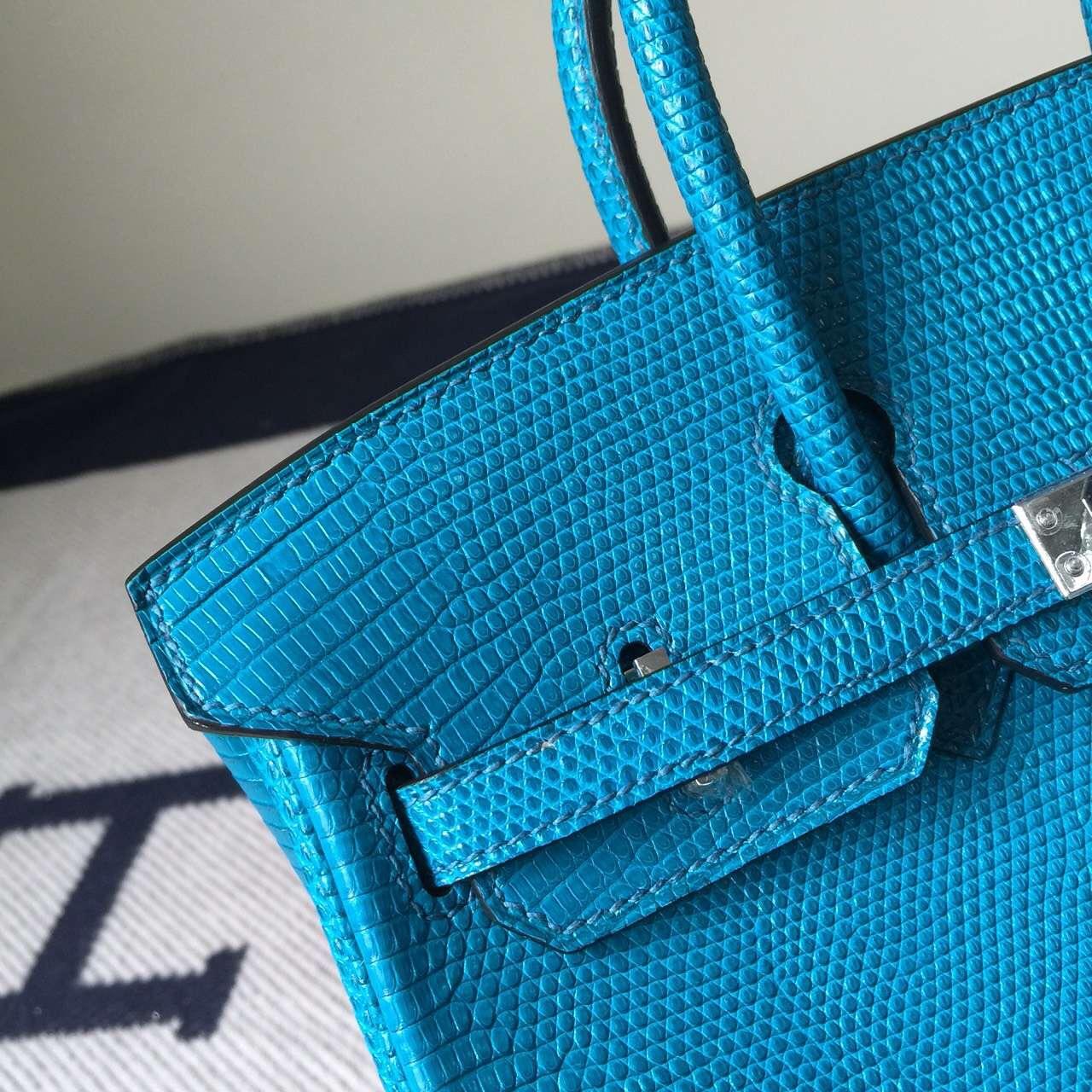 Sale Hermes 7W Blue Izmir Lizard Skin Leather Birkin Bag 25cm